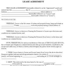free lease agreement forms